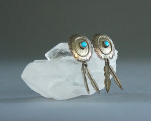 Silver concho and turquoise feather earrings