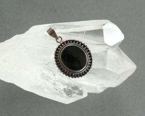 sterling silver and black Victorian style pendant
