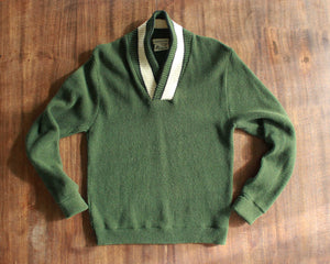 Vintage hunter green wool sweater with white collar by Utah Woolen Mills