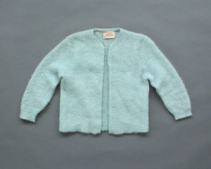 Vintage pale blue mohair cardigan women's small