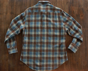 Distressed wool plaid flanel shirt size large