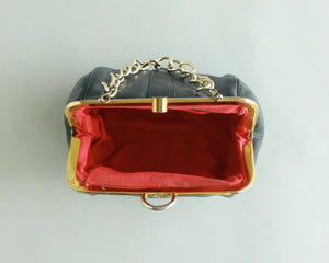Retro black leather purse with gold chain