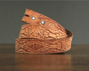 Vintage thunderbird tooled Southwestern belt