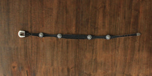 Vintage black leather ranger belt with conchos