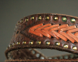 Boho stamped leather belt with rivets size 36