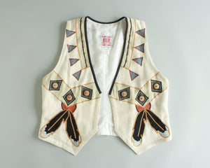 White Western vest with feather design women's size medium-large