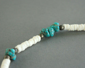 puka shell faux turquoise necklace