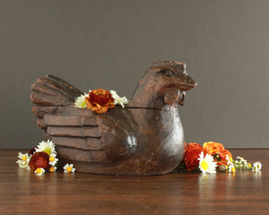 retro chicken centerpiece wooden candle holder