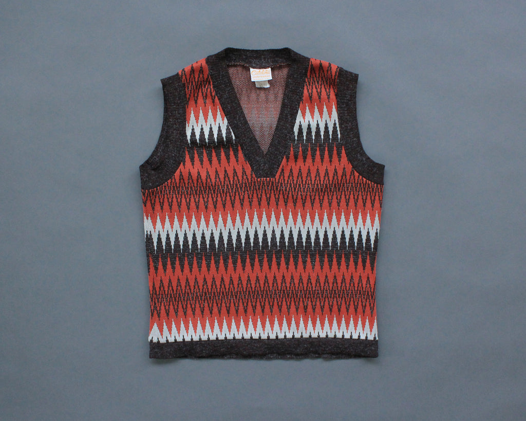 1970s zigag polyester sweater vest by Catalina Sportswear