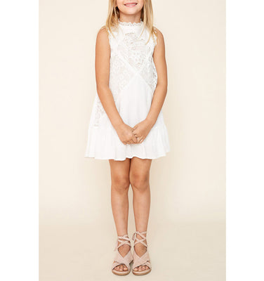 White Lace Crochet Dress Flaire Kids Clothing