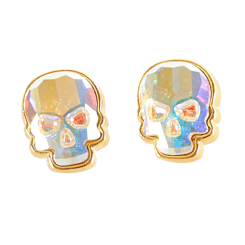 Crystal Skull Earrings, Aurora B