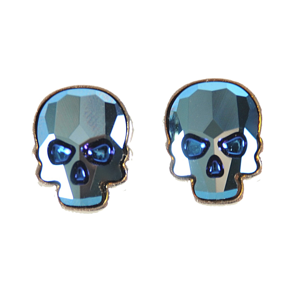 Crystal Skull Earrings, Denim Blue
