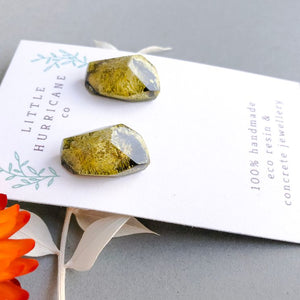 Golden Green Gem Studs