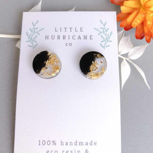 Button Studs - Black & Gold Leaf