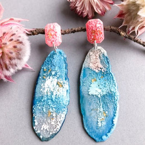 Blue Oceanview Geode Dangles