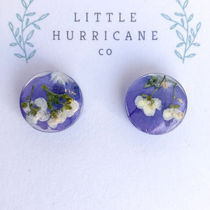 Button Studs - Viola and Alyssum