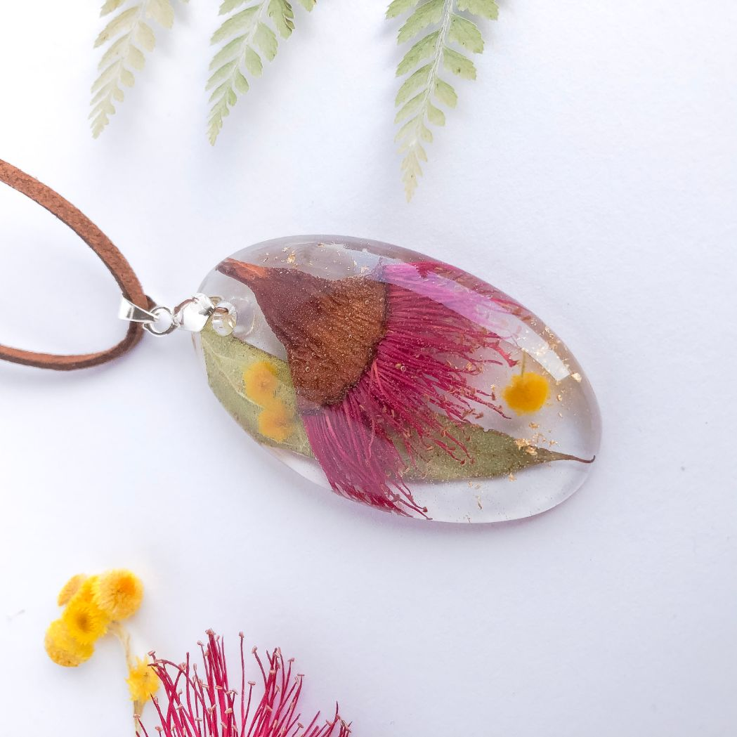 Oval Necklace - Foraged Gum Blossom & Wattle