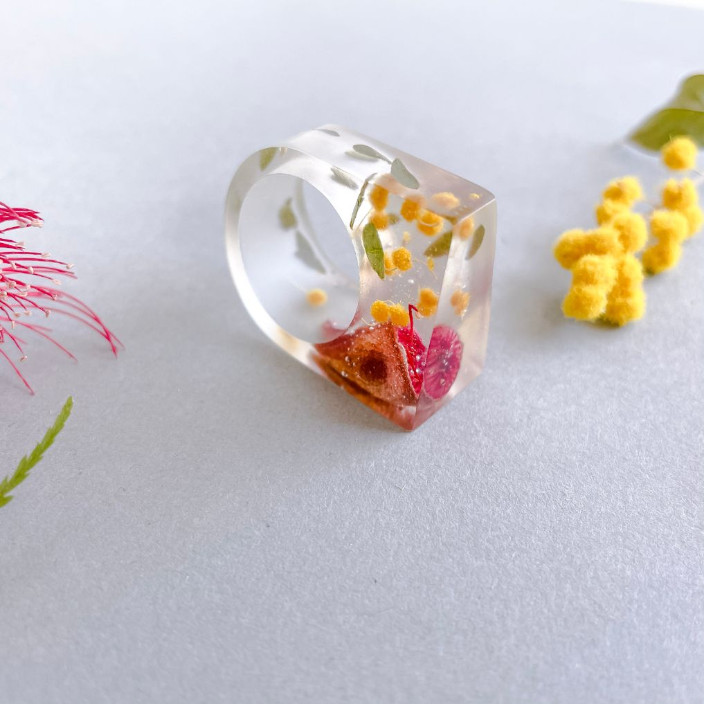 Translucent Statement Ring - Red Gum