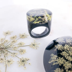Super Statement Ring - Lichen on Black