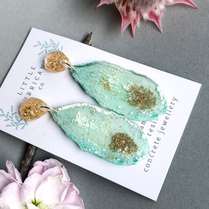 Mint Jade Geode Dangles small