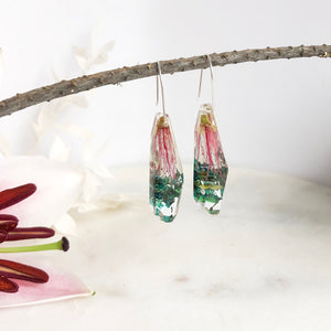 Pink Bottle Brush Faceted Dangle