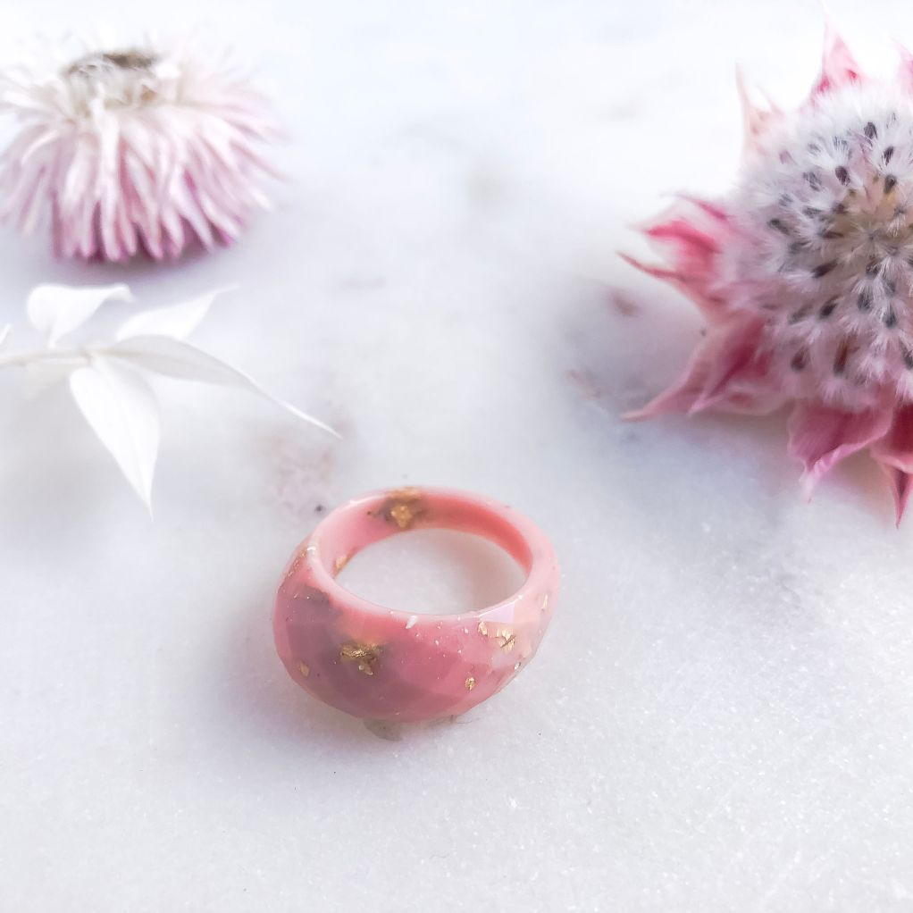 Faceted Ring - Pink  & Gold Leaf