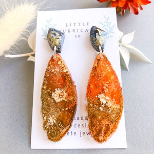 Burnt Sunset Geode Dangles
