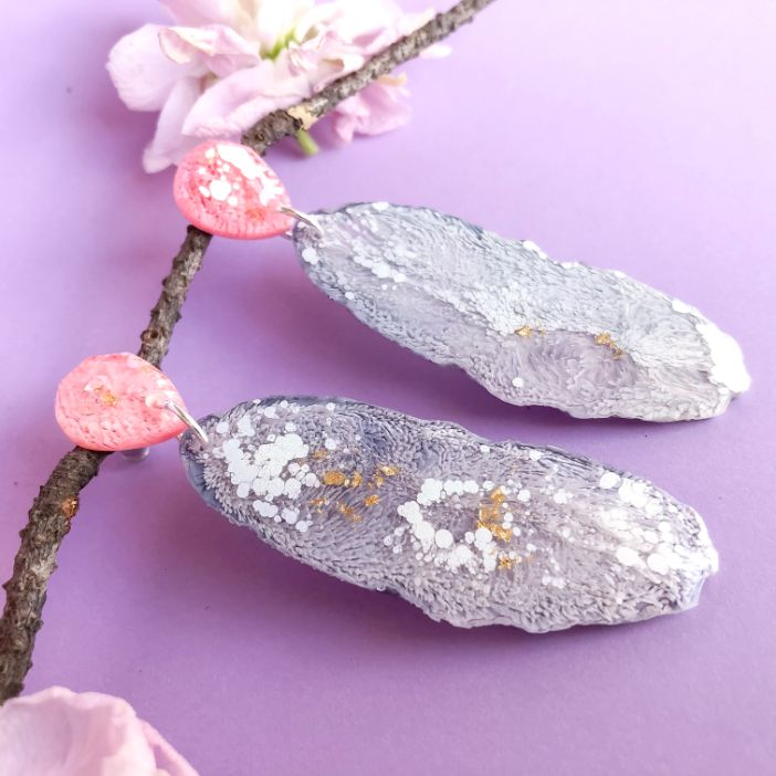 Lavender Dreams Geode Dangles