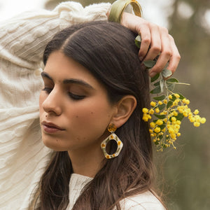 Wattle Dangle Hoops on white
