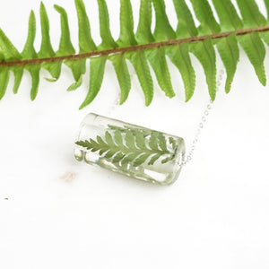 Barrel Necklace - Foraged Fern & Gold Leaf - Little Hurricane Co