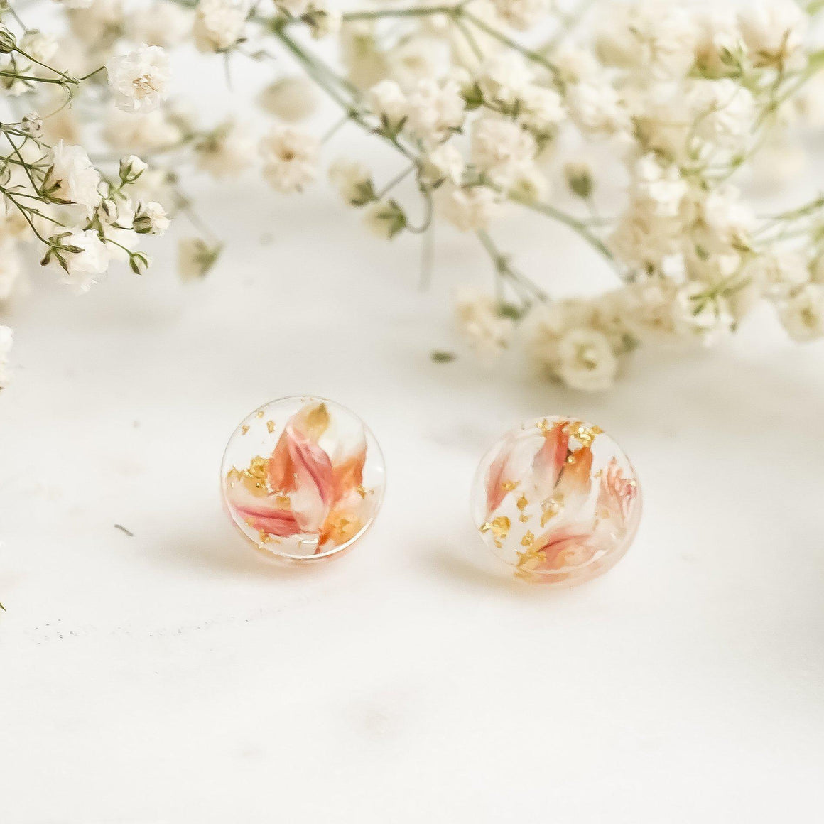 Button Studs - Strawberry Fields Flower & Gold Leaf - Little Hurricane Co