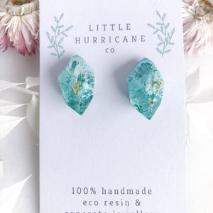 Caribbean Water Gem Studs - Little Hurricane Co