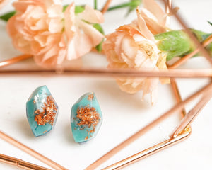 Copper Leaf Turquoise Geometric Studs - Little Hurricane Co
