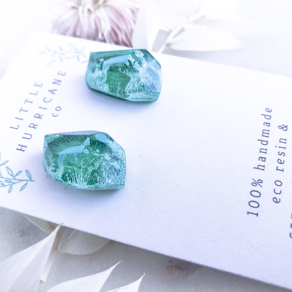 Emerald Green Gem Studs - Little Hurricane Co