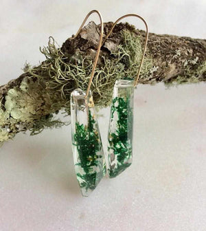 Faceted Dangle - Moss & Gold Leaf - Little Hurricane Co