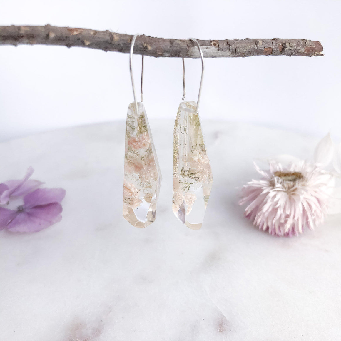 Faceted Dangles - Baby's Breath & Asparagus fern - Little Hurricane Co