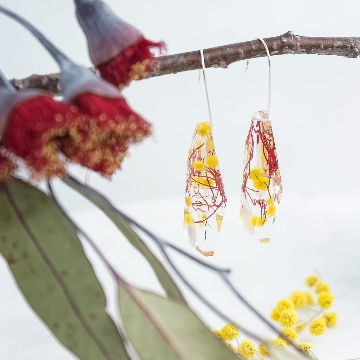 Faceted Dangles - Golden Wattle & Gumnut Blossom - Little Hurricane Co