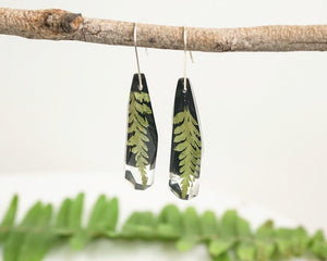 Faceted Dangles - Little Fern on black - Little Hurricane Co