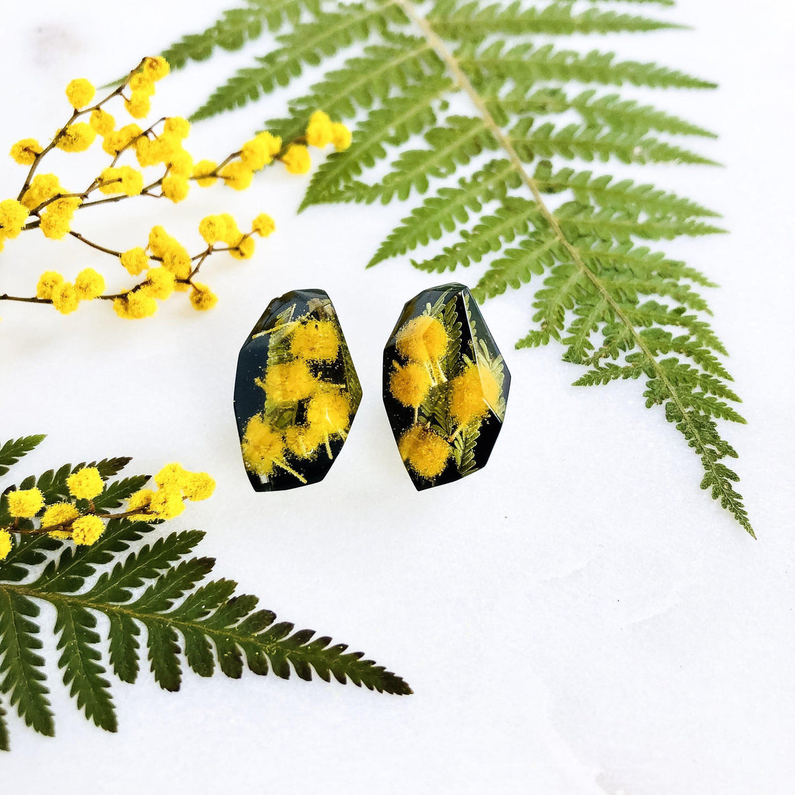 Faceted Studs - Golden Wattle on black - Little Hurricane Co