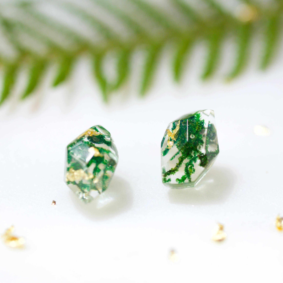 Faceted Studs - Moss & Gold Leaf - Little Hurricane Co