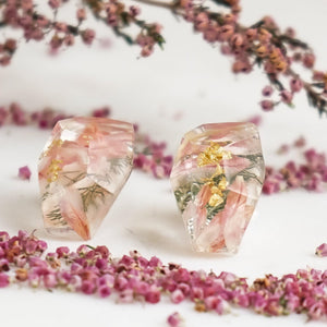 Faceted Studs - Strawberry Fields Flower & Fern - Little Hurricane Co