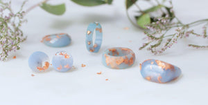 Geometric Faceted Ring - barely blue Eco-Resin & Copper Leaf - Little Hurricane Co