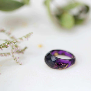 Geometric Faceted Ring - Transparent Purple Eco Resin & Gold Leaf - Little Hurricane Co