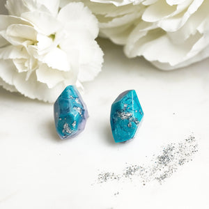 Geometric Turquoise Galaxy Studs - Little Hurricane Co