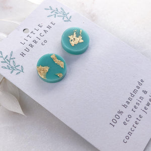 Gold Leaf Aqua Mint Button Studs - Little Hurricane Co