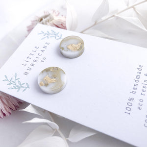 Gold Marble - button studs - Little Hurricane Co