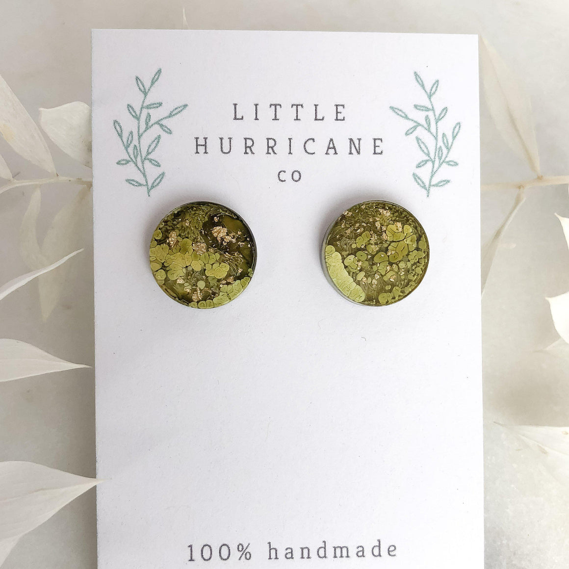 Golden Green - Button Studs - Little Hurricane Co