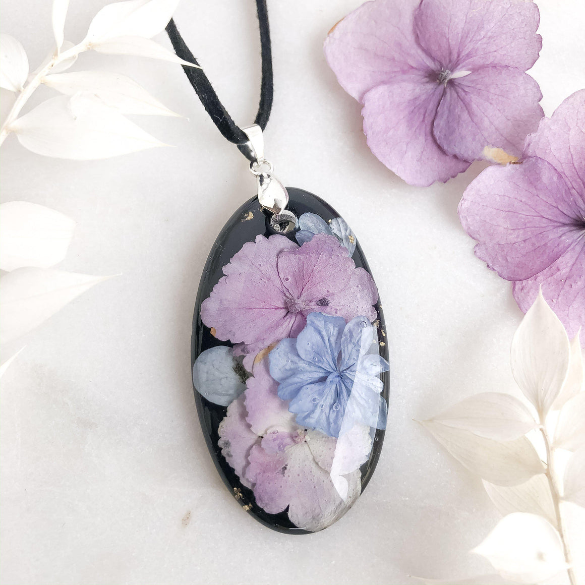 Hydrangea on Black Necklace - Little Hurricane Co