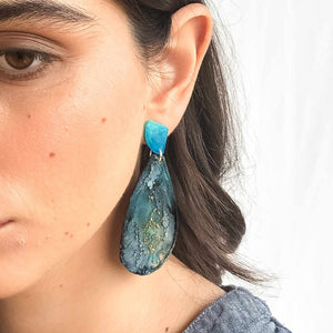 Midnight Ocean Geode Dangles - Little Hurricane Co