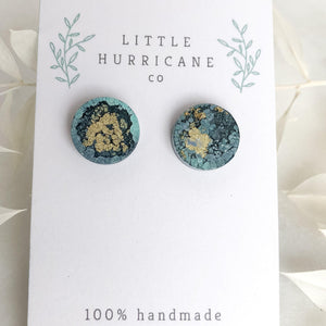 Midnight water - button studs - Little Hurricane Co